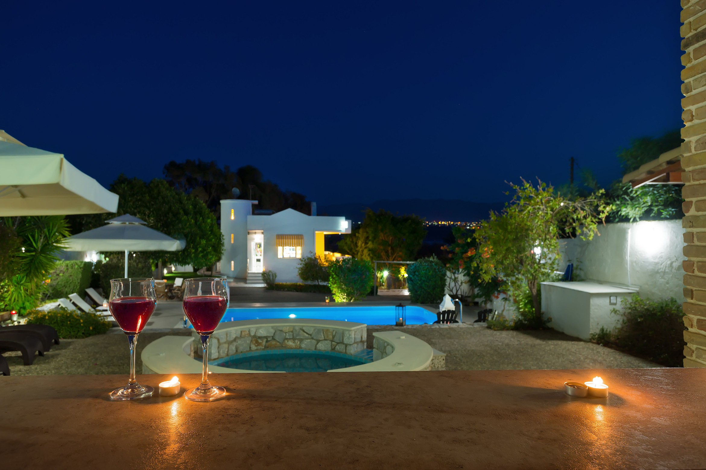 Villa Plumeria garden and pool view by night