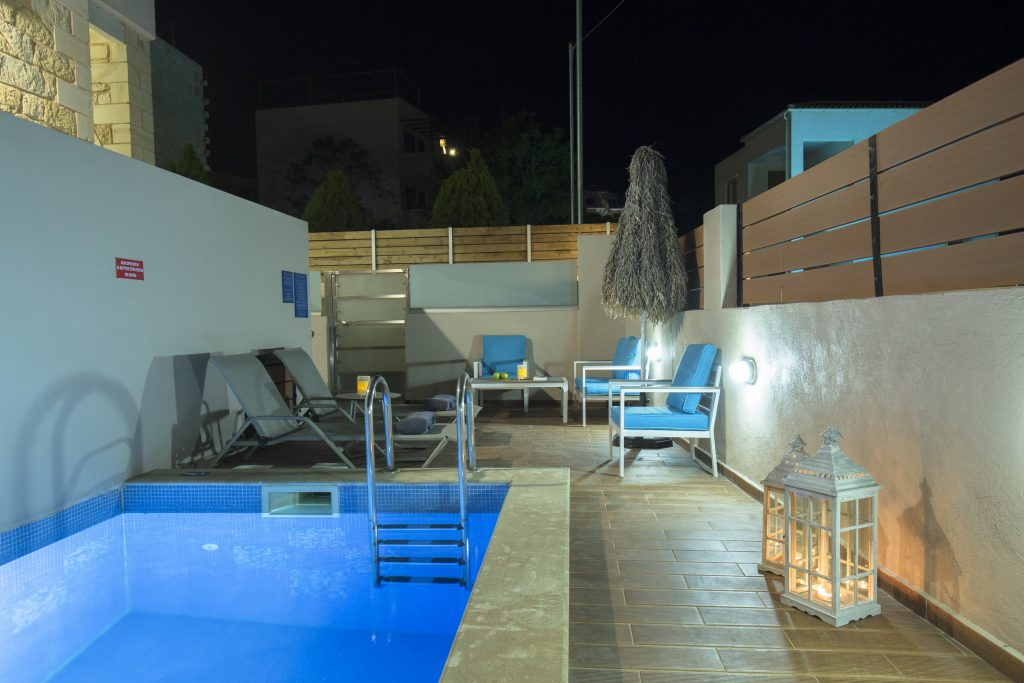Villa Constancia pool area by night